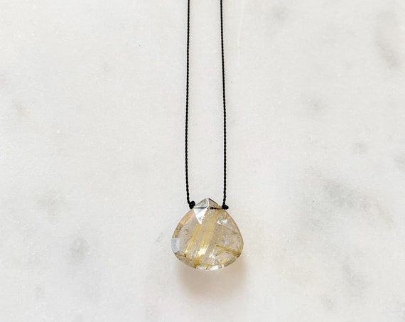 RUTILATED QUARTZ Gem Drop Healing NECKLACE w/Faceted Briolette Bead on Nylon Cord w/Sterling Clasp// Layering Necklace// Healing Necklace
