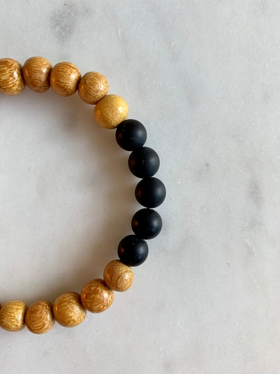 Matte Black ONYX Healing Beaded Bracelet w/ Yellow Wood// B.J.B.A.// MEN'S BRACELET// Healing Bracelet// Unisex Bracelet// Protection