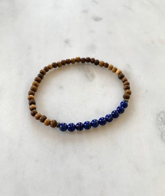 Itty Bitty Polished LAPIS LAZULI + Pyrite Healing Bracelet w/Robles Wood Beads// Statement Bracelet/ Healing Bracelet// Third Eye Chakra