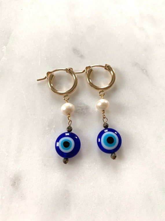 EVIL EYE, Pyrite + PEARL Drop Earrings/Earrings// Beaded Earrings/ Gold Vermeil// Evil Eye Jewelry/ Protection Jewelry// June Birthstone