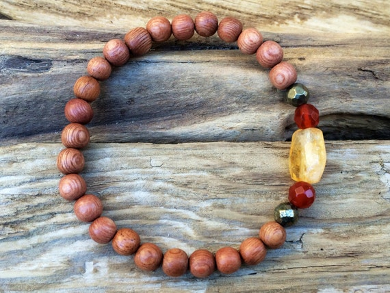 CONFIDENCE ~Positive Mantra Bracelet~ Rose Wood Beaded Bracelet with a Mix of Semi-Precious Healing Crystals (Carnelian, Citrine + Pyrite).