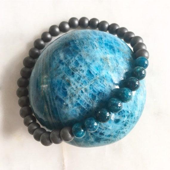 Frosted Hematite + Polished Apatite Healing Beaded Bracelet// B.J.B.A.// MEN'S BRACELET// Healing Bracelet// Unisex Bracelet// Blue Apatite