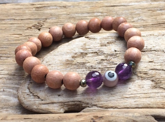 Rose Wood Beaded Bracelet with Faceted Amethyst and Pyrite Healing Beads and Glass Evil Eye// Stacking Statement Bracelet// Healing Crystals