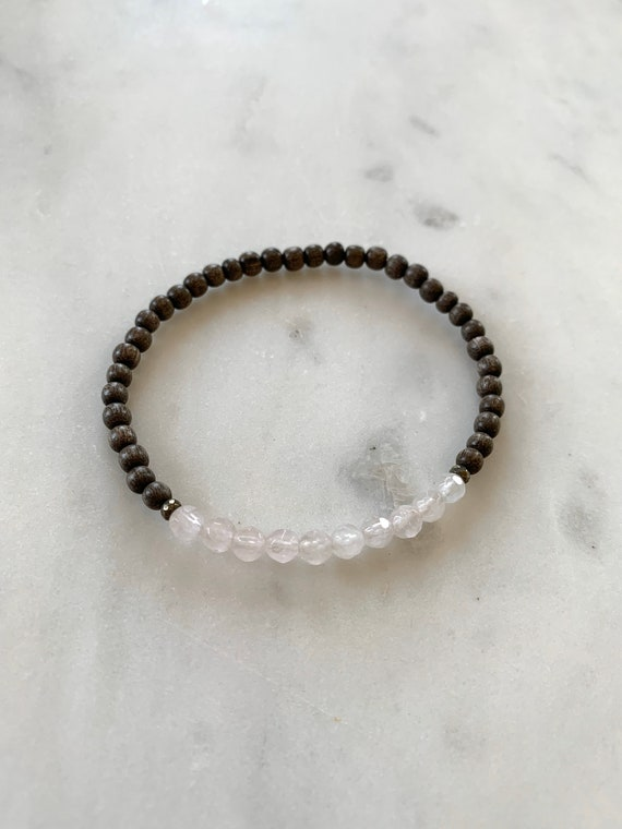 Itty Bitty Faceted ROSE QUARTZ + Pyrite Healing Bracelet w/ Gray Wood Beads// Statement Bracelet/ Healing Bracelet// Stacking Bracelet/ LOVE
