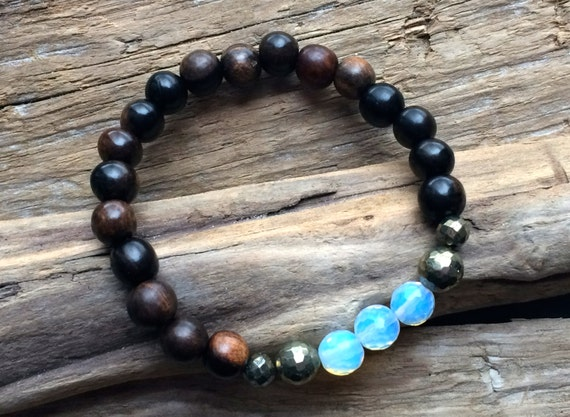 Faceted Healing Pyrite and Opalite Beaded Bracelet with Tiger Ebony Wooded Beads// Statement Bracelet