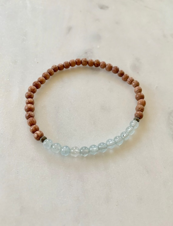 Beautiful AQUAMARINE + Faceted PYRITE Healing Beads on Rose Wood Beaded Bracelet// Statement Bracelet/ Birthstone Jewelry// MARCH Birthstone