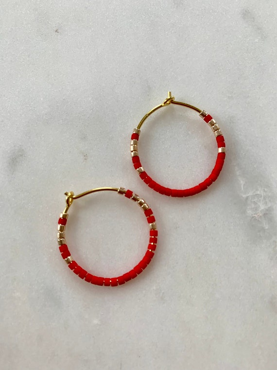 HOLIDAY ready Red + Gold Glass Beaded Gold Vermeil HOOP Earrings/ Earrings/ Hoop Earrings/ Trendy Hoops/ Beaded Earrings/ FESTIVE Earrings