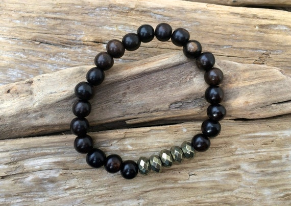 Tiger Ebony Wood Beaded Bracelet with Faceted Pyrite Healing Beads// Statement Bracelet// Healing Bracelet// Stacking Bracelet// Unisex