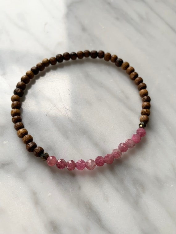 Stunning Faceted Pink TOURMALINE + PYRITE Healing Beads w/Robles Wood Beaded Bracelet// Healing Bracelet// October BIRTHSTONE Jewelry