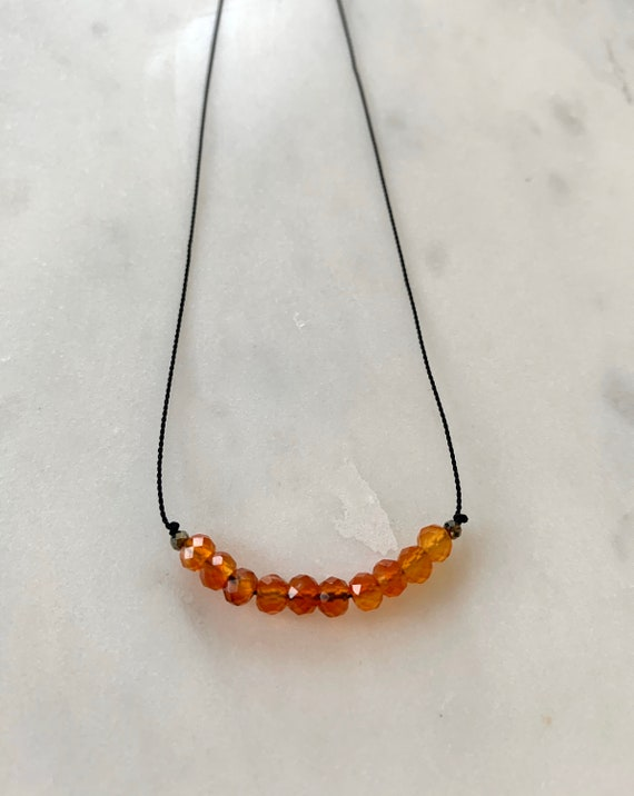 CARNELIAN + Pyrite GEM Drop Healing NECKLACE w/Faceted Beads on Silk Cord/Layering Necklace/ Healing Necklace/ Transformation/ Sacral Chakra