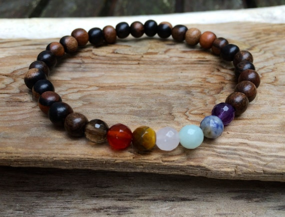 Tiger Ebony Wood Beaded Chakra Bracelet with Genuine Faceted Healing Crystal Beads// Healing Bracelet// Stacking Bracelet// Unisex Bracelet