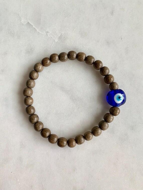 Beautiful Glass EVIL EYE Healing Beads w/Gray Wood Beaded Bracelet// Stacking Bracelet/ Statement Bracelet// Healing/ Protection// Evil Eye