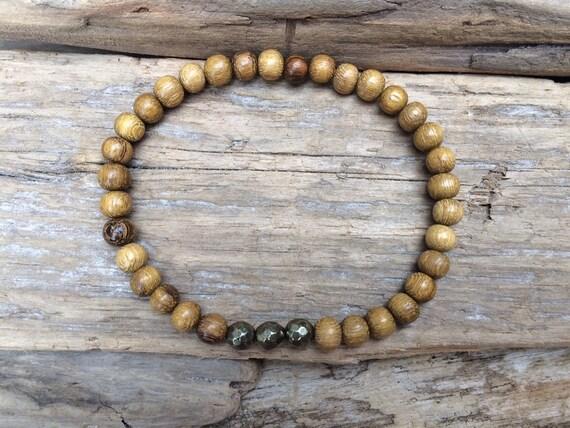 Robles Wood Beaded Bracelet with Faceted Pyrite Healing Beads// B.J.B.A.// MEN'S BRACELET// Healing Bracelet// Unisex Bracelet//