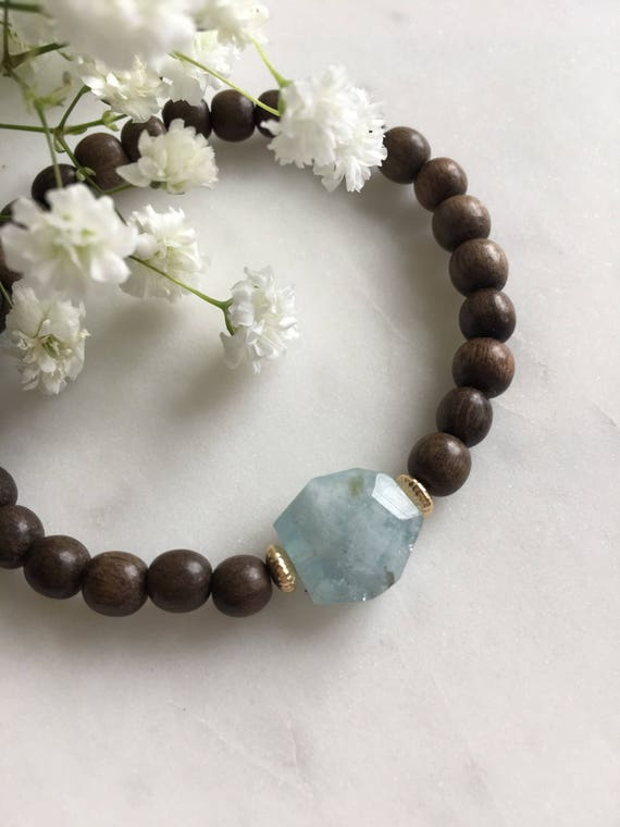 Beautiful Faceted AQUAMARINE Healing Bead + Gold Accent Beads w/Gray Wood Beaded Bracelet// Statement Bracelet// Birthstone Jewelry/ March