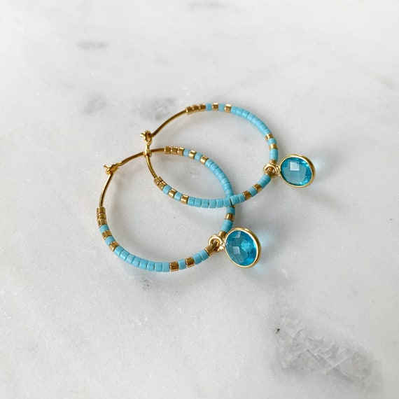 Blue + Gold Glass Beaded + Dangle BLUE TOPAZ Gold Vermeil HOOP Earrings/ Earrings/ Hoop Earrings/ Beaded Hoops/ Mothers Day Gifts