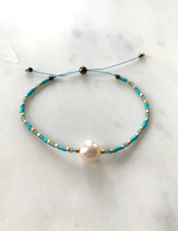 GODDESS Collection> PEARL Healing Beads w/Matte Gold + Turquoise Glass Beads/ Adjustable Nylon Bracelet/ Layering/ Pop of Color/ Birthstones