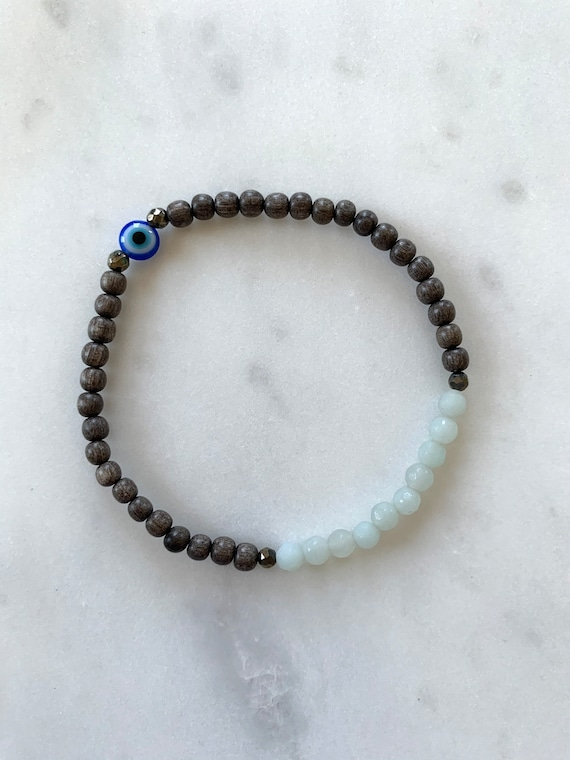 Itty Bitty Faceted AMAZONITE + EVIL Eye + Pyrite Healing Bracelet w/Gray Wood Beads/ Statement Bracelet/ Healing Bracelet// Stress Relief