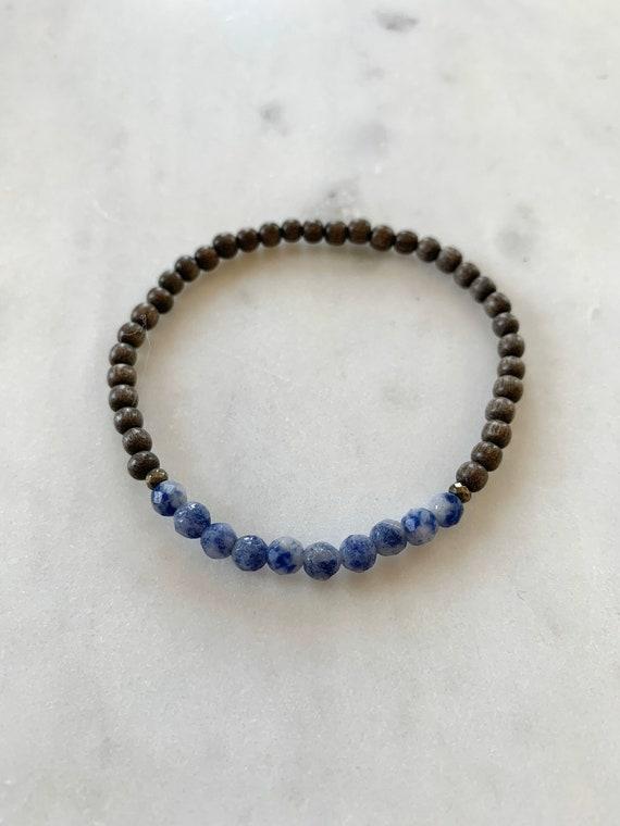 Itty Bitty Faceted SODALITE + Pyrite Healing Bracelet w/Gray Wood Beads/ Statement Bracelet/ Healing Bracelet// Throat Chakra/ Sodalite
