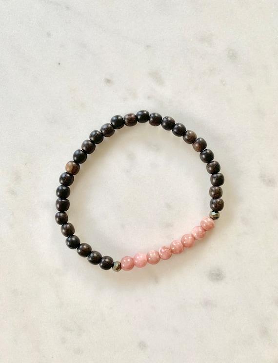 Itty Bitty Polished RHODOCHROSITE + Pyrite Healing Bracelet w/ Tiger Ebony Wood Beads/ Statement Bracelet/ Healing Bracelet// Heart Chakra