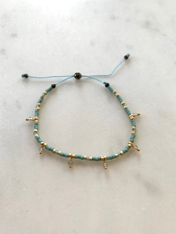 GODDESS Collection> LABRADORITE Healing Beads w/Matte Gold + Rustic Turquoise Glass Beads// Adjustable Nylon Bracelet// Pop of Color