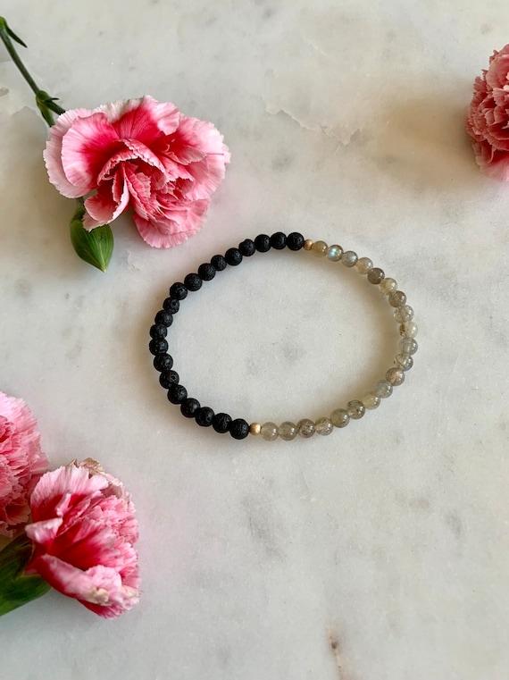 Itty Bitty Polished LABRADORITE + LAVA Rock Healing Beaded Bracelet// Healing Bracelet// Stacking Bracelet// DIFFUSER Bracelet/ Labradorite
