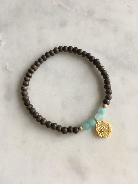Stunner Collection> AMAZONITE Healing Beads + Gold Vermeil Moon + Star Charm w/ Gray Wood Beads// Healing Bracelet// Charm Bracelet