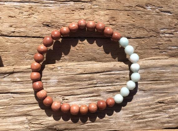 Rose Wood Beaded Bracelet with Faceted Amazonite Healing Beads// Stacking Bracelet// Healing Bracelet// Statement Bracelet