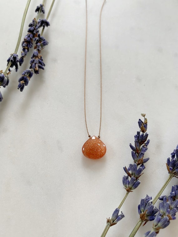 SUNSTONE GEM Drop Healing NECKLACE w/ Excellent Quality Briolette Bead on Silk Cord with Sterling Clasp/ Layering Necklace/ Healing Necklace