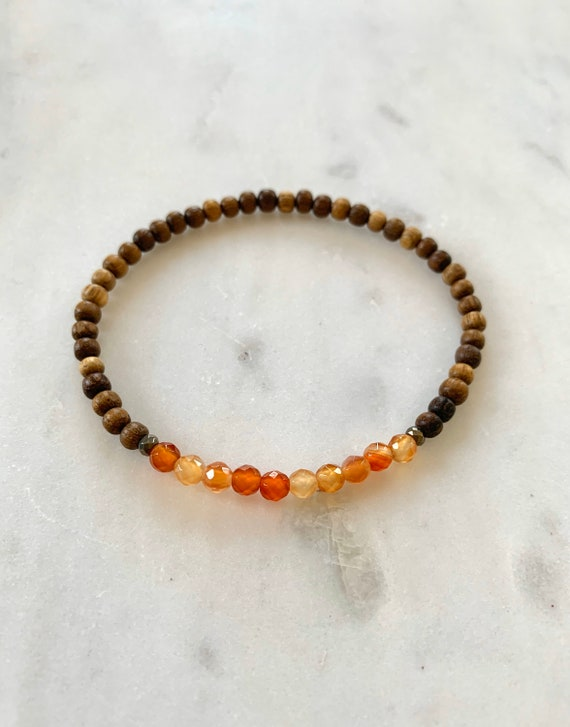 Itty Bitty Faceted CARNELIAN + Pyrite Healing Bracelet w/Robles Wood Beads/ Statement Bracelet/ Healing Bracelet/ Transformation/ Carnelian