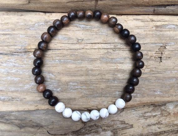 Tiger Ebony Wood Beaded Bracelet with Polished White Howlite Healing Beads// B.J.B.A.// MEN'S BRACELET// Healing Bracelet// Unisex