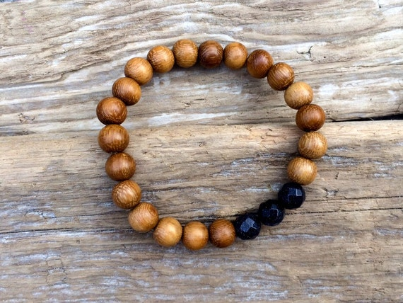 Robles Wood Beaded Bracelet with Faceted Blue Goldstone Healing Beads// Healing Bracelet// Stacking Bracelet