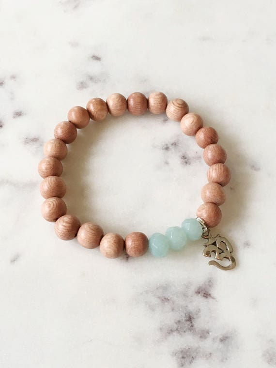 Beautiful Faceted AMAZONITE Healing Beads and Sterling Silver OM Charm with Natural Rose Wood Beads// Healing Bracelet// Charm Bracelet/ Ohm