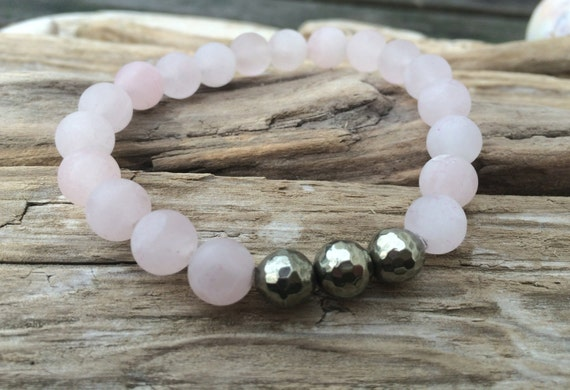 Frosted Rose Quartz Beaded Bracelet with Faceted Pyrite Healing Beads// Statement Bracelet// Stacking Bracelet// Healing Bracelet