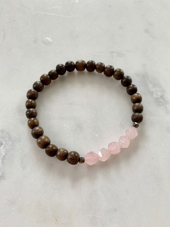 Geometric ROSE QUARTZ + Faceted PYRITE Healing Beads w/Gray Wood Beaded Bracelet/ Stacking Bracelet/ Statement Bracelet/ Rose Quartz/ Love