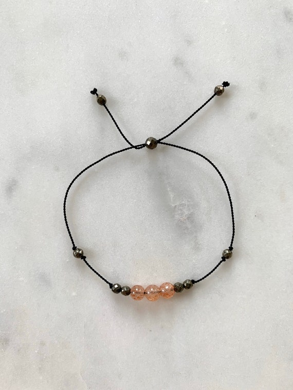 GODDESS Collection> SUNSTONE + Pyrite Healing Beads// Faceted Gemstones// Minimalism// Adjustable Nylon Bracelet// Layering// Pop of Color