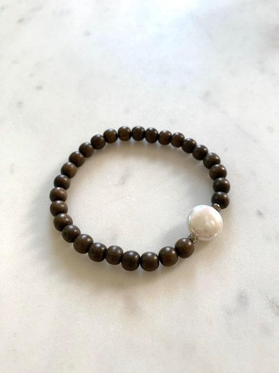 Beautiful PEARL + PYRITE Healing Beads w/Gray Wood Beaded Bracelet// Pearl Coin// Statement Bracelet/ Birthstone Jewelry// JUNE Birthstone