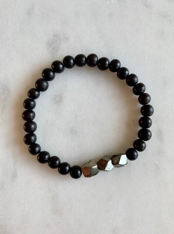 Geometric PYRITE Healing Bracelet w/ Tiger Ebony Wood Beads/ B.J.B.A.// MEN'S Bracelet/ Healing Bracelet// Unisex Bracelet/ Fool's Gold