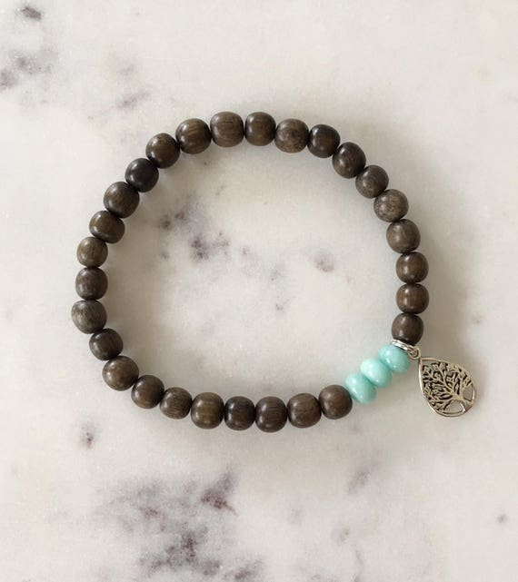 Beautiful Polished AMAZONITE Healing Beads + Sterling Silver TREE of LIFE Charm with Gray Wood Beads// Healing Bracelet// Charm Bracelet