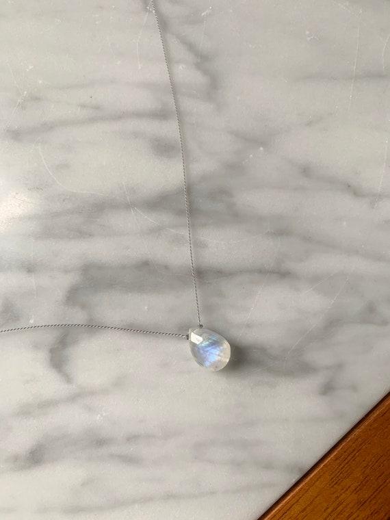 Rainbow MOONSTONE Gem Drop Healing NECKLACE on Nylon Cord// Layering Necklace/ Healing Necklace// June BIRTHSTONE Jewelry/ Rainbow Moonstone