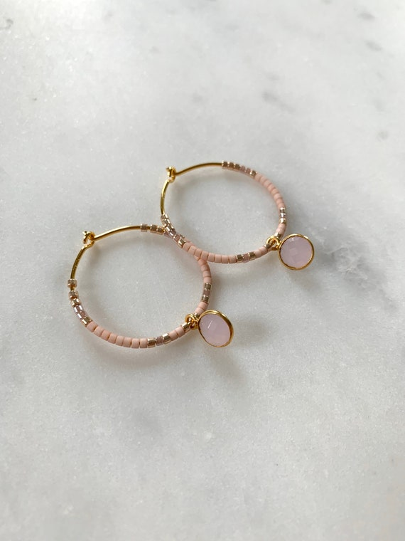 Pink + Gold Glass Beaded + Dangle ROSE QUARTZ Gold Vermeil HOOP Earrings/ Earrings/ Hoop Earrings/ Beaded Earrings/ Mother's Day Gifts