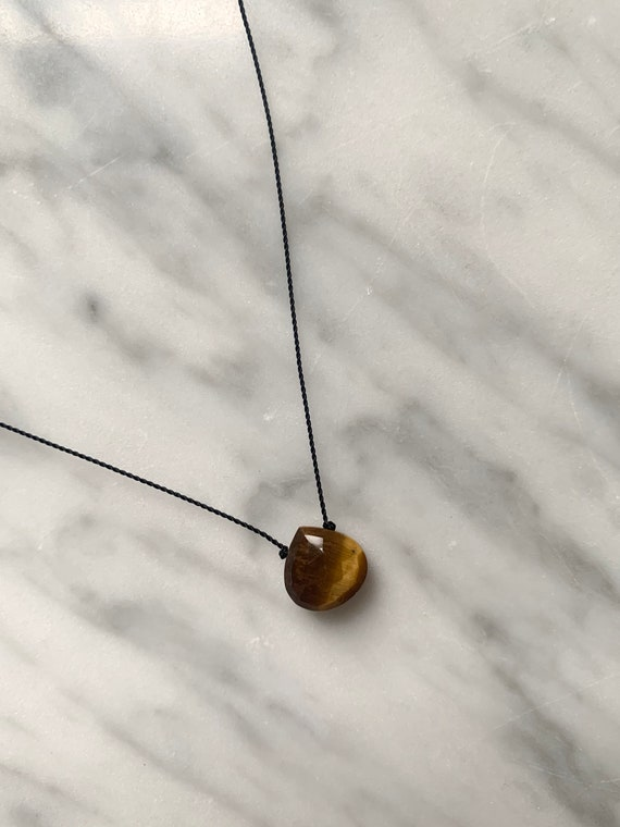 TIGERS EYE Gem Drop Healing NECKLACE w/Faceted Bead on Sturdy Cord w/Sterling Clasp// Layering Necklace// Healing Necklace// Tigers Eye