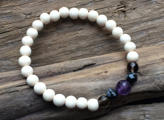 PROTECTION ~Positive Mantra Bracelet~ Wooden Bracelet with a Mix of Semi-Precious Stones (Amethyst, Smokey Quartz, and Snowflake Obsidian)