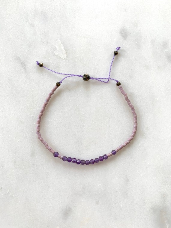 GODDESS Collection> AMETHYST Healing Beads w/Matte Light Lavender Glass Beads/ Adjustable Nylon Bracelet/Layering/ Pop of Color/ Birthstones