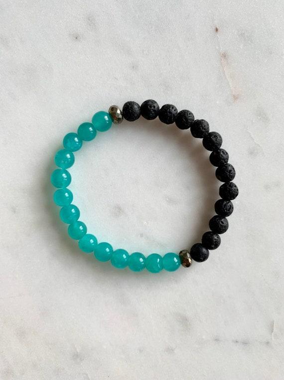 Matte AMAZONITE + LAVA Healing Beaded Bracelet w/ Faceted Pyrite//Healing Bracelet/ Stacking Bracelet// DIFFUSER Bracelet/ Essential Oils