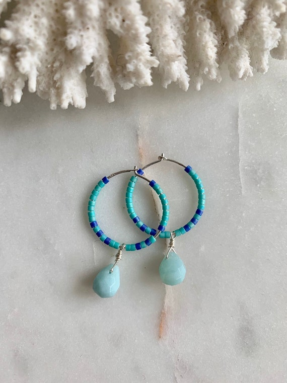 Turquoise + Egyptian Blue Glass Beaded + Dangle AMAZONITE Sterling Silver HOOP Earrings/ Earrings/ Hoop Earrings/ Trendy Hoops/ Beaded Hoops