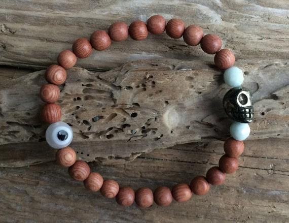 Wooden Beaded Bracelet w/AMAZONITE + PYRITE SKULL Healing Beads w/ Protective Glass Evil Eye Bead// Day of the Dead Bracelet// Crystal Skull