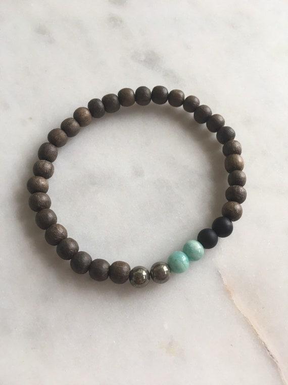 STRESS/ANXIETY RELIEF ~Positive Mantra Bracelet~ Wooden Bracelet w/ Semi-Precious Healing Stones <<Amazonite, Onyx + Pyrite>> Mens Bracelet