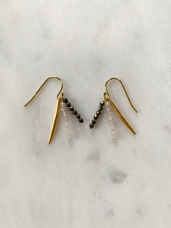 Spike + Sparkle Rose Quartz + Pyrite Faceted Healing Dangle Earrings/Earrings// Beaded Earrings/ Gold Vermeil//