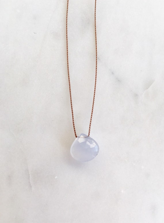 Blue Chalcedony GEM DROP Healing NECKLACE w/ Faceted Briolette Bead on Silk Cord// Layering Necklace// Healing Necklace// Delicate Necklace