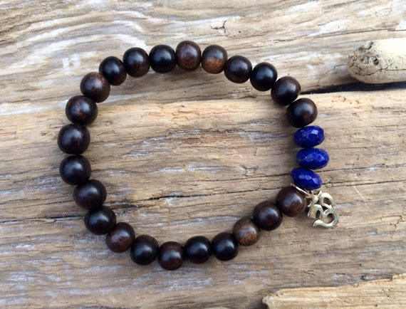 Tiger Ebony Wood Beaded Bracelet with Faceted Healing Lapis Lazuli Beads and Sterling Silver Om Charm// Healing Bracelet// Charm Bracelet